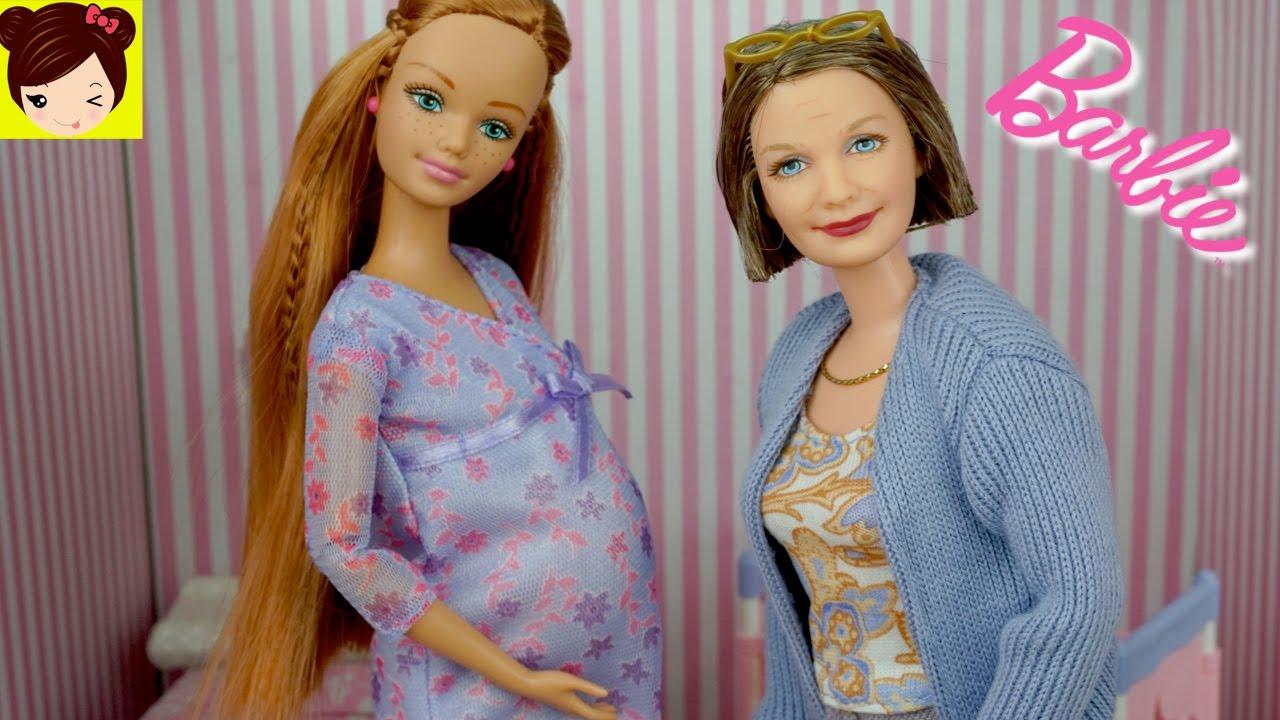 El Nacido Cuarto Del Bebe Abuelita Con DeArmamos Recien Y Muñeca Barbie Embaraza jL435AR