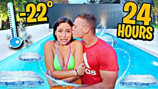 LIVING IN FREEZING COLD POOL FOR 24 HOURS *OVERNIGHT CHALLENGE*