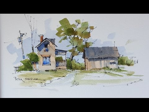 A Quick And Simple Line And Wash Demostration Farmhouse