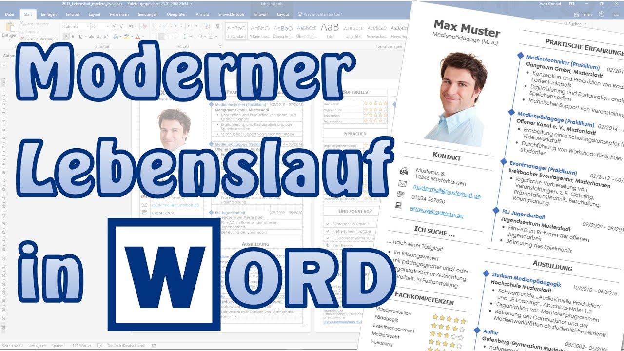 Lebenslauf modern in Word [Bewerbung, Studium, Akademiker, CV ...