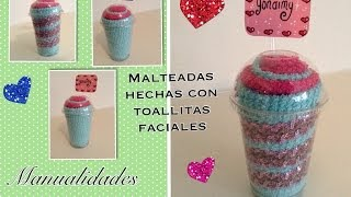 Repeat youtube video MALTEADA HECHA CON TOALLITAS FACIALES .