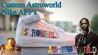 Complete Custom   Astroworld Travis Scott Nike Air Force 1 - Made by Khameleon
