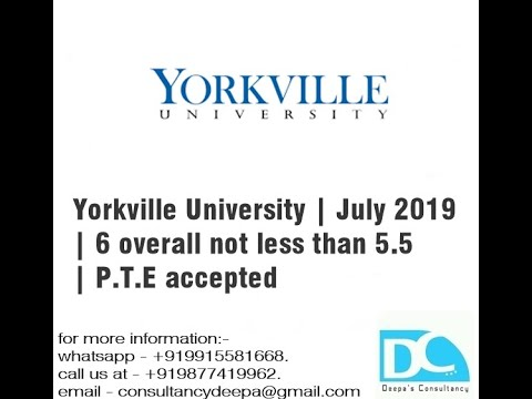 Yorkville University July 2019 6 Overall Not Less Than 5 5 P T E Accepted Youtube
