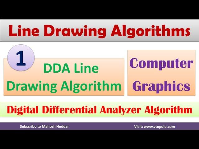 1. Digital Differential Analyzer| DDA Algorithm | DDA Line Drawing Algorithm by Mahesh Huddar