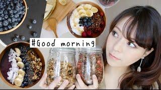 【朝食シリーズ】手作りグラノーラ 作り方&食べ方【簡単•美容•健康】🍓🍌