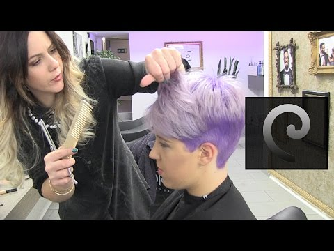 short pixie hairtrend undercut extreme haircut makeover & dying purple by Alves & Bechtholdt