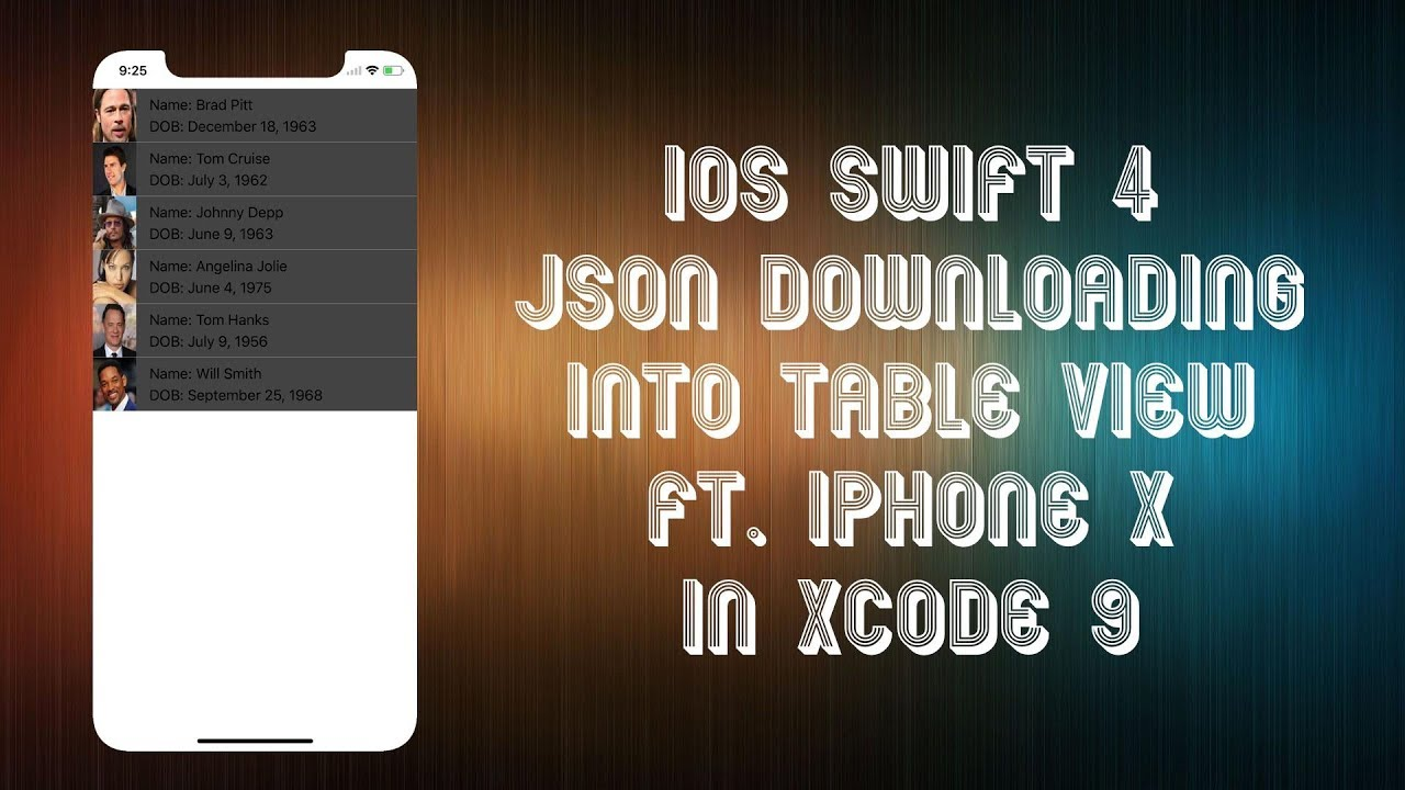 iOS Swift 4 Tutorial JSON Downloading into TableView ft iPhone X in Xcode 9