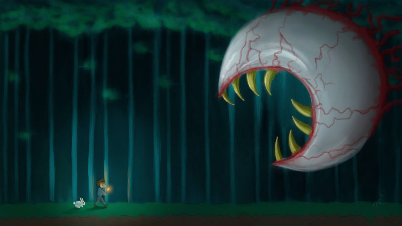 terraria demon eye in hovercraft - YouTube