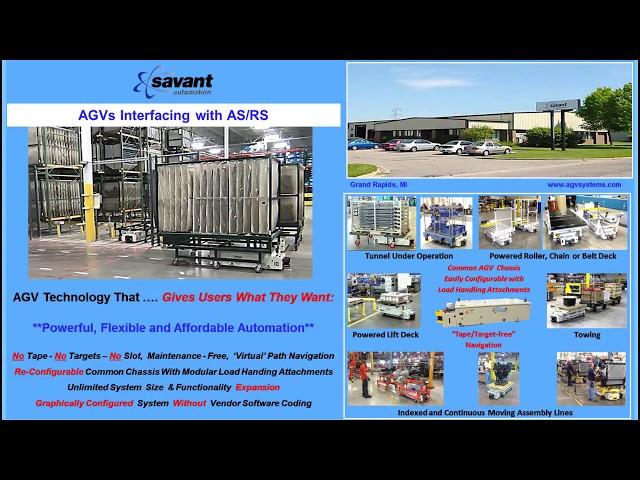 SAVANT 'Tape/Target-free' AGV/AGC Interfacing with AS/RS