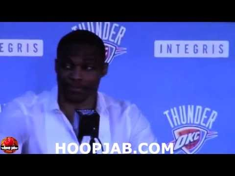Russell Westbrook Re-Signs With The Oklahoma City Thunder Full Announcement Press Conference.HoopJab
