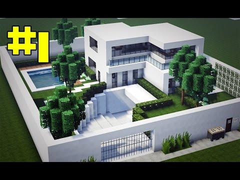 Minecraft tutorial casa super moderna parte 1 doovi for Casas modernas grandes minecraft