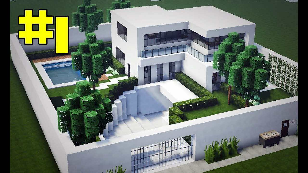 Minecraft tutorial casa moderna completa manyacraft for Casas modernas para minecraft