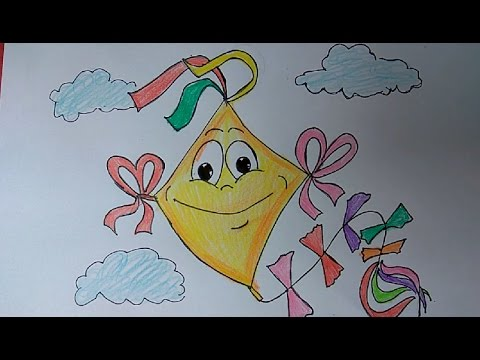 Kite Flying Festival Drawing Cute Kite Drawing Kite Flying