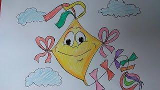 Kite Flying Festival Drawing, cute kite drawing, kite flying festival poster