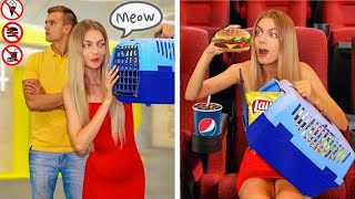 6 Ways to Snęak Food into the Movies! Pranks Friend Ideas by Mr Degree