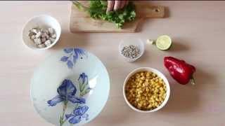 Сытный и полезный салат с болгарским перцем и кукурузой