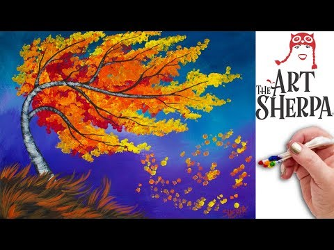 Fall Birch Tree  Q Tip Painting Technique For BEGINNERS EASY Acrylic Painting