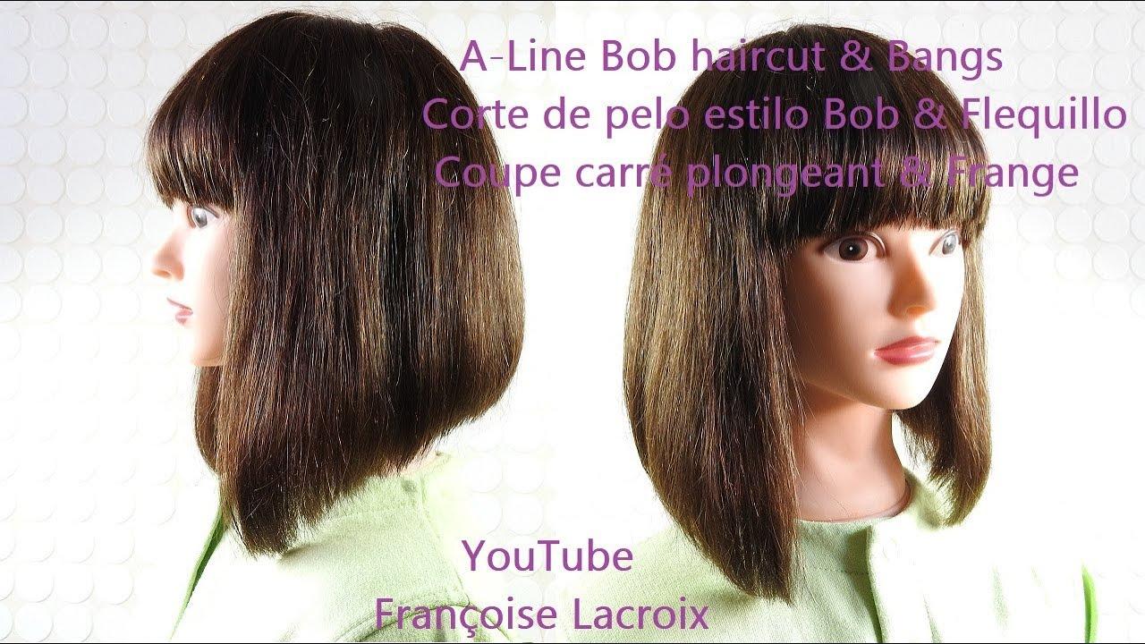 tuto coupe carre plongeant avec frange a line bob haircut bangs corte de pelo bob flequillo