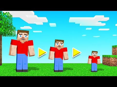 MINECRAFT But EVERY HIT = GET SMALLER! (we shrunk)