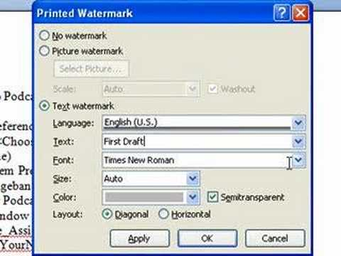 how to add watermark to a word document
