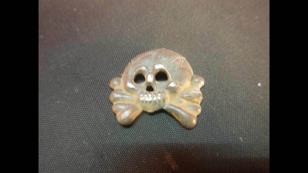 Waffen SS Deathshead Cap Badge from Tank Battle Site
