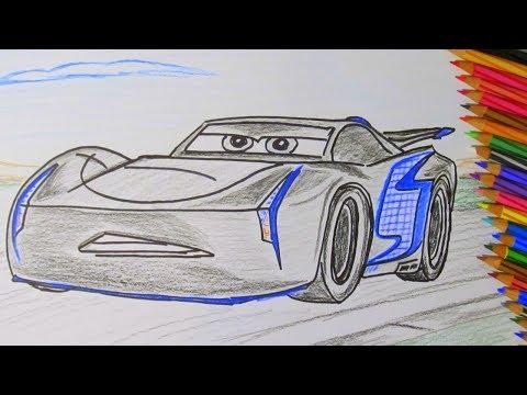 How To Draw A Cartoon Disney Pixar CARS 3 Jackson Storm 2017 Coloring for Boys Kids