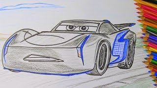 How To Draw A Cartoon Disney Pixar CARS 3 Jackson Storm 2017 Coloring for Boys Kids