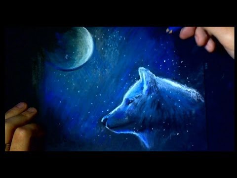 Sketch Drawing On Black Paper Wolf Color Youtube