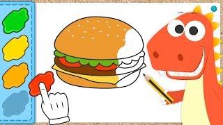 Aprende a colorear una Hamburguesa con Eddie | Eddie: el dinosaurio colorea una Hamburguesa y Salsas