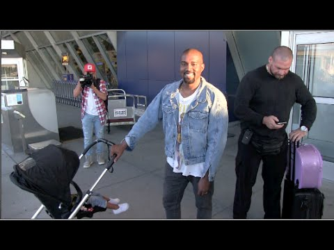 (New) Kim Kardashian Kanye West and North West arriving to NYC JFK Airport 09-06-15
