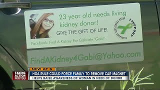 HOA asks 23-year-old woman to take down kidney donor car magnet