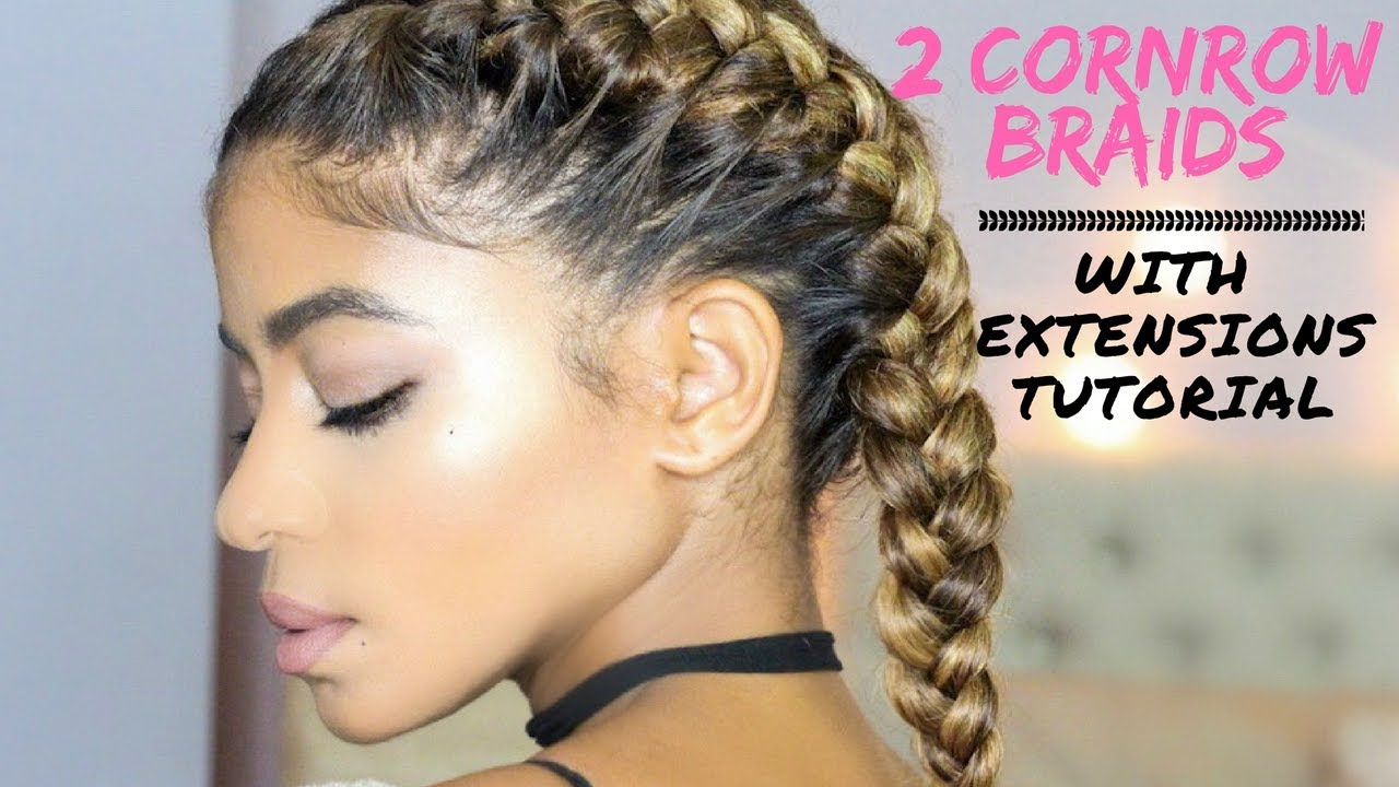 2 Cornrow Braids With Extensions On