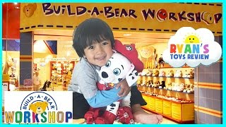 Ryan ToysReview's First Build A Bear Workshop with Paw Patrol Chase and Marshall