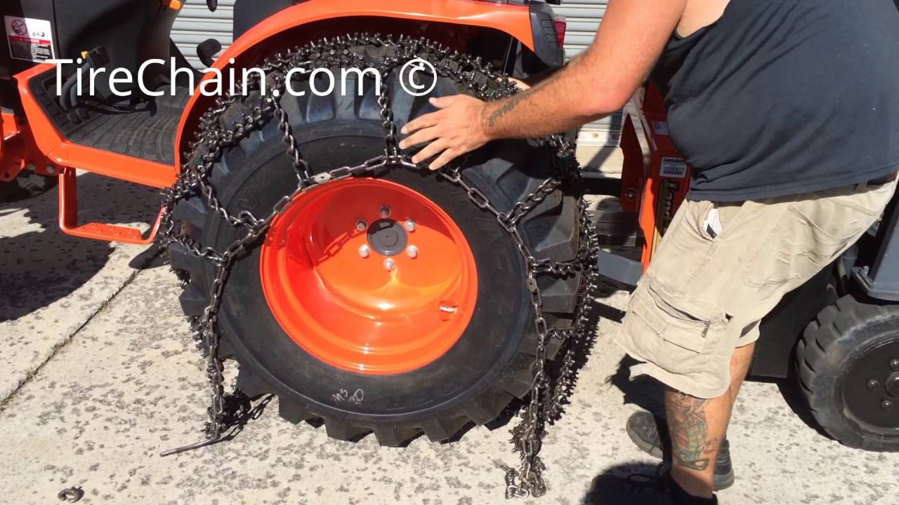Studded Tractor Tire Chains Installation: TireChain.com - YouTube