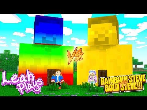 Minecraft LEAH PLAYS || A PORTAL TO HOW TO LIVE INSIDE A GOLD STEVE VS RAINBOW STEVE!!!