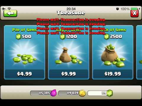 I can't purchase gems in Clash Of Clan