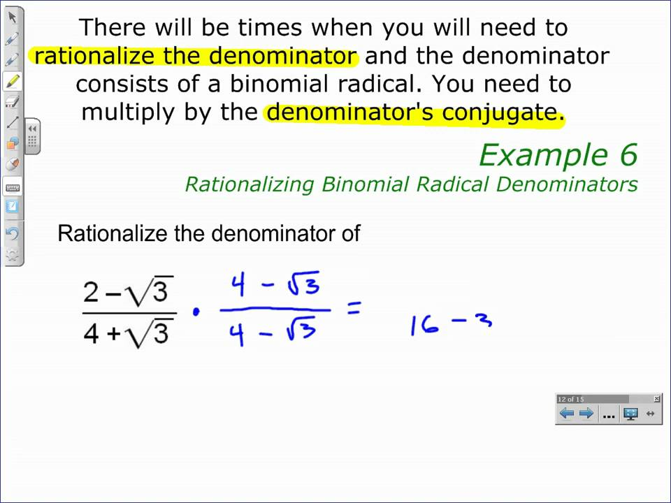 Rationalizing Binomial Radical Denominators YouTube – Rationalizing Denominators Worksheet