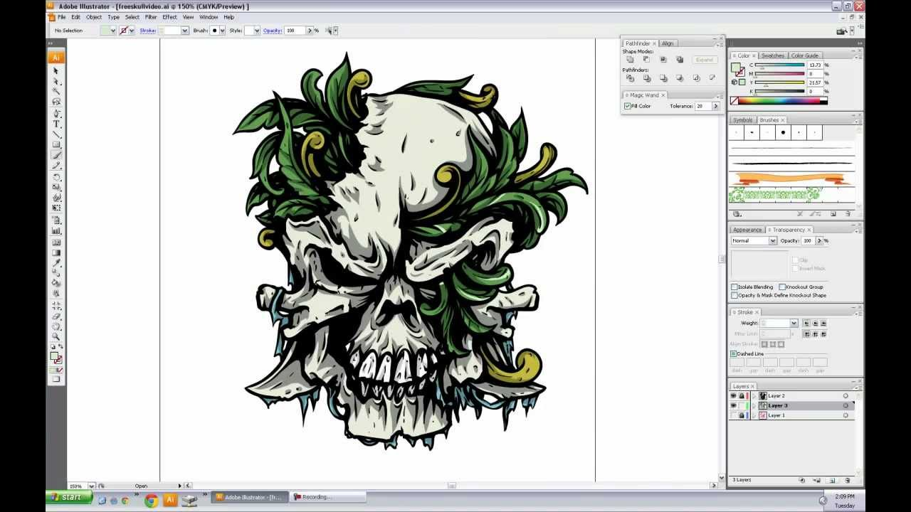 Vector Skull Speed Drawing Tutorial & Freebie - CrazyLeaf