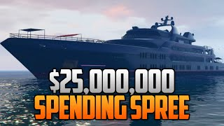 GTA 5 Online $25,000,000 SPENDING SPREE! Buying All Cars, Super Yachts, Houses & More!