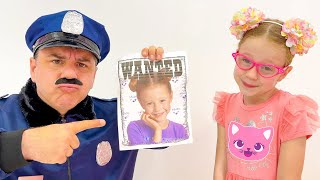 Nastya Pretend Play Funny Police Chase Story and Costume Dress Up Video for Children