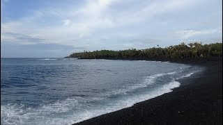 Hawaii Kilauea Eruption Update Pohoiki Boat Ramp, road and park with new black sand beach