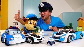 Paw Patrol Chase ve Robocar Poli. Polis toplantısı. Oyuncak arabalar