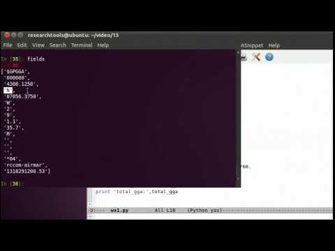 RT 2011: Screencast 13 - Python Part 6 - Parsing GPS data - YouTube