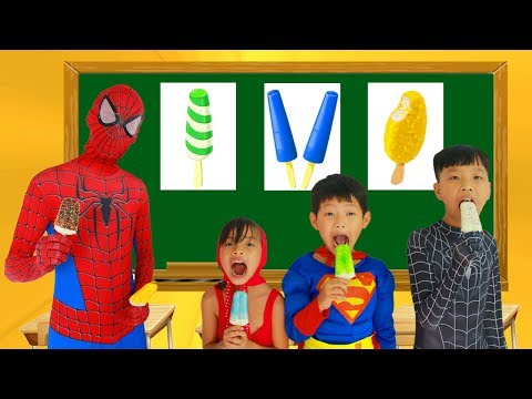 Thumbnail: School colors Spiderman tripped in Classroom Masha Eat ice cream w/ Elsa Paint Banana Learn Color