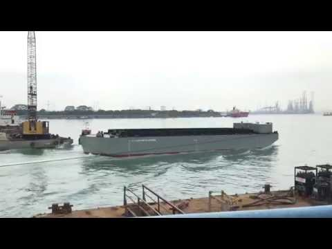 Barge Launching at HIAP SHING SHIPPING SINGAPORE