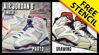 Air Jordan 6 Tinker - Sneaker Drawing w/ FREE Stencil