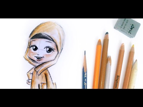 Drawing a muslim little girl with hijab islamic drawing tutorial youtube