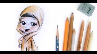 Drawing a muslim little girl with Hijab   Islamic Drawing Tutorial