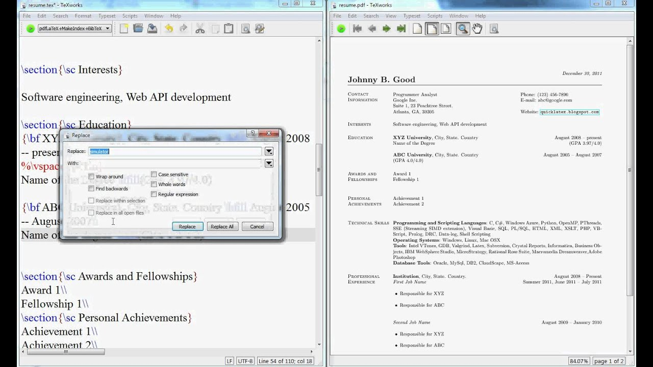 resume Resume Cls latex video tutorial how to create a resume or cv in youtube latex