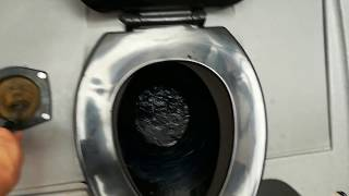 Bathroom Tour: Portable toilet with a rare handle flushometer